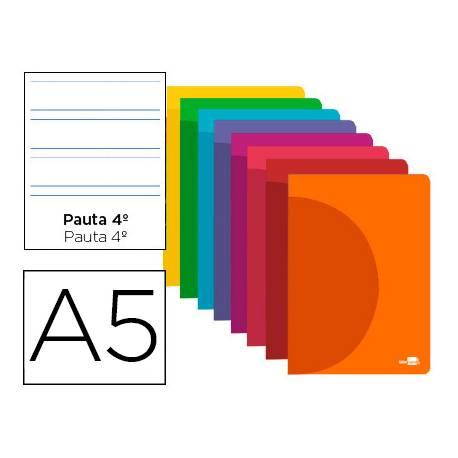 Libreta Liderpapel 360 A5 48 hojas 90g/m2 pauta 4 3,5mm (NO SE PUEDE ELEGIR COLOR)