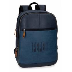 "Mochila para portátil 13,3"" Pepe Jeans en Piel Sintetica Max azul"