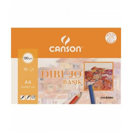 Papel dibujo Canson A4 130 g/m2 Minipack 10