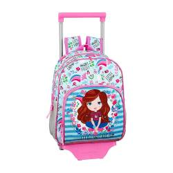 CARTERA ESCOLAR SAFTA CON CARRO GLOW LAB KIDS 280X340X100 MM