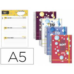Agenda Escolar 19-20 Liderpapel Semana Vista DIN A5 Espiral Bilingüe Tapa Extradura Colores Surtidos