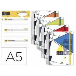 Agenda Escolar 19-20 Liderpapel Classic DIN A5 Semana Vista Espiral Bilingüe Cierre con goma Colores Surtidos