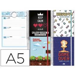 AAgenda Escolar 19-20 Semana vista DIN A5 con Espiral Bilingüe Liderpapel Fantasia Video Games No se puede elegir modelo