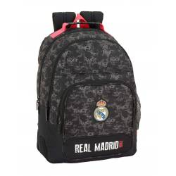 Mochila Escolar Real Madrid 42x32x15 Poliester Doble Asa Superior Black