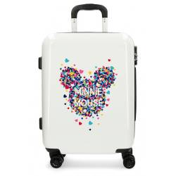 Maleta de cabina de 55x40x20 cm Rigida Minnie Mouse Magic Corazones color Beige