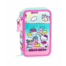 PLUMIER ESCOLAR SAFTA HELLO KITTY CANDY UNICORNS DOBLE CREMALLERA 28 PIEZAS 125X40X195 MM