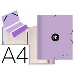 Carpeta Antartik clasificadora DIN A4 12 departamentos Carton forrado Color Lila