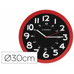 Reloj de pared Q-Connect rojo 30 cm