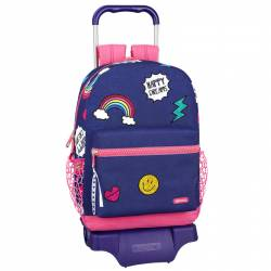 CARTERA ESCOLAR CON CARRO SAFTA MOOS DREAMS 320X430X140 MM