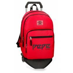 Mochila Escolar Pepe Jeans 46x31x15 Cm en poliester Osset Roja con ruedas