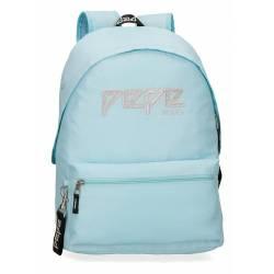 Mochila Escolar Pepe Jeans 42x31x17,5 Cm en poliester Uma azul celeste adaptable a carro