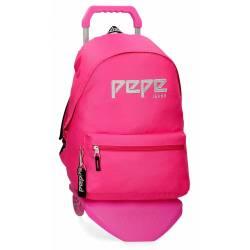 Mochila Escolar Pepe Jeans 42x31x17,5 Cm en poliester Uma rosa con ruedas