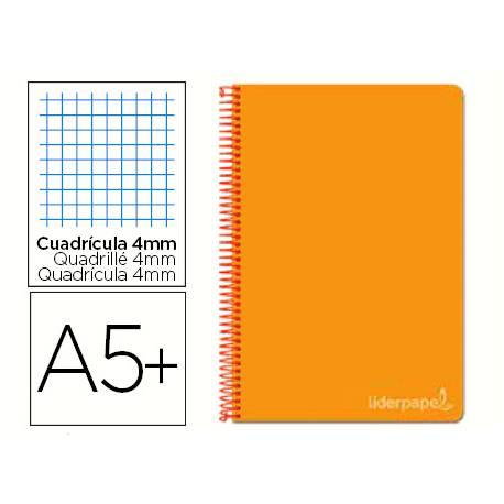 Cuaderno espiral Liderpapel Witty Tamaño A5+ Tapa dura Cuadricula 4mm 75 g/m2 Naranja Con margen