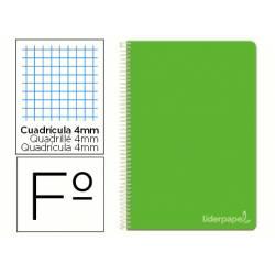 Cuaderno espiral Liderpapel Witty Tamaño Folio Tapa dura Cuadricula 4mm 75 g/m2 color Verde Con margen