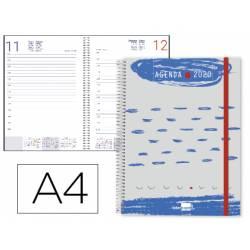 Agenda 2020 Espiral Tinos Dia pagina DIN A4 Color Azul/Gris Personalizable Liderpapel