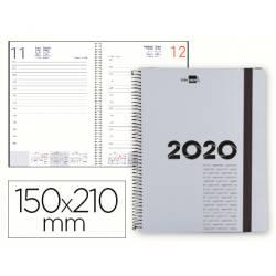 Agenda 2020 Espiral Olbia Dia pagina 150x210 mm color Gris metalizado Liderpapel