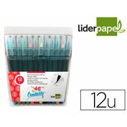 Rotulador Liderpapel Punta Pincel caja 12 colores