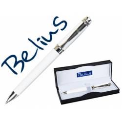 Boligrafo Belius Basilea 1 mm Tinta Azul en Blanco Mate con estuche