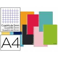 Cuaderno espiral Liderpapel Smart Tamaño DIN A4 Tapa blanda Cuadricula 5 mm 60 g/m2 en Colores surtidos