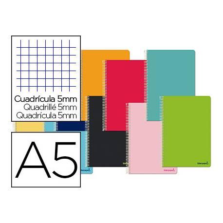 Cuaderno espiral Liderpapel DIN A5 Tapa blanda Cuadricula 5 mm 60 g/m2 6 taladros en Colores surtidos (No se puede elegir)