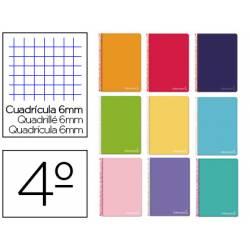 Cuaderno espiral Liderpapel Tamaño cuarto Tapa dura Cuadricula 6 mm 75 g/m2 Con margen en Colores surtidos (no se puede elegir)
