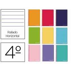 Cuaderno espiral Liderpapel Witty Tamaño cuarto Tapa dura Rayado horizontal 75 g/m2 Con margen en Colores surtidos