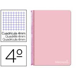 Cuaderno espiral Liderpapel Witty Tamaño cuarto Tapa dura Cuadricula 4 mm 75 g/m2 Con margen en color Rosa