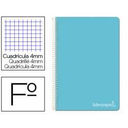 Cuaderno espiral Liderpapel Witty Tamaño folio 80 hojas Tapa dura Cuadricula 4 mm 75 g/m2 Con margen en color Celeste