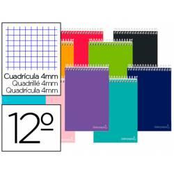 Cuaderno espiral Liderpapel Smart Tamaño Doceavo Tapa blanda Cuadricula 4 mm 60 g/m2 Apaisado en Colores surtidos