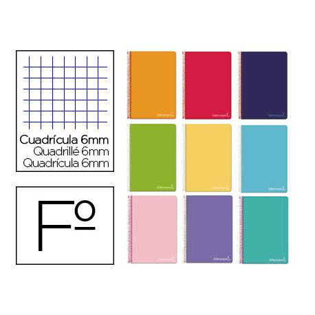 Cuaderno espiral Liderpapel Witty Tamaño Folio Tapa dura Cudricula 6 mm 75 g/m2 Con margen Colores surtidos