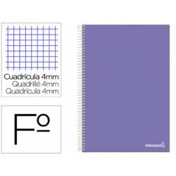 Cuaderno espiral marca Liderpapel folio smart Tapa blanda 80h 60gr cuadro 4mm con margen Color violeta