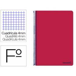 Cuaderno espiral Liderpapel folio smart Tapa blanda 80h 60gr cuadro 4mm con margen Color rojo