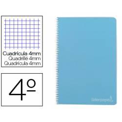 Bloc Liderpapel cuarto witty cuadrícula 4mm tapa dura 75 gr azul