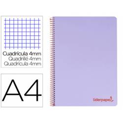 Bloc Liderpapel Din A4 wonder cuadrícula 4mm tapa polipropileno 90 gr color violeta
