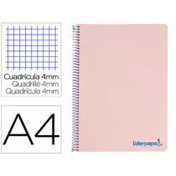 Bloc Liderpapel Din A4 wonder cuadrícula 4mm tapa polipropileno 90 gr color rosa