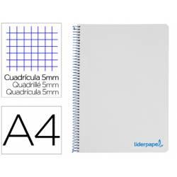 Bloc Liderpapel Din A4 micro wonder cuadrícula 5mm 5 bandas 4 taladros tapa polipropileno 90 gr gris