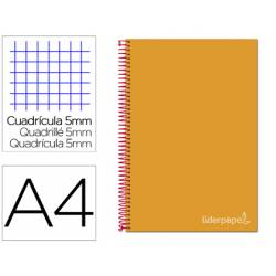 Bloc Liderpapel Din A4 micro jolly cuadrícula 5mm 5 bandas 4 taladros tapa forrada 75 gr color naranja