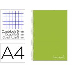 Bloc Liderpapel Din A4 micro jolly cuadrícula 5mm 5 bandas 4 taladros tapa forrada 75 gr color verde