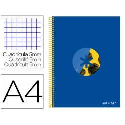 Bloc Antartik DIN A4 micro antartikcuadro 5 banda 4 taladros tapa forrada 100 gr color azul