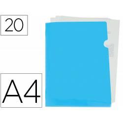 Carpeta dossier uñero Liderpapel DIN A4 polipropileno 180 micras 20 hojas color azul