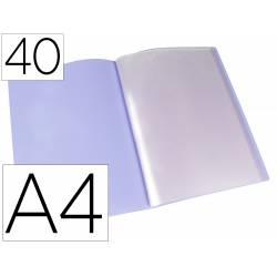 Carpeta escaparate Liderpapel DIN A4 poliporpileno con 40 fundas color violeta