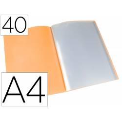 Carpeta escaparate Liderpapel DIN A4 poliporpileno con 40 fundas color naranja