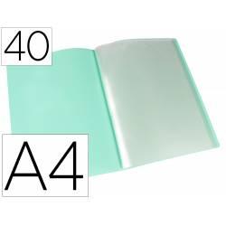 Carpeta escaparate Liderpapel DIN A4 poliporpileno con 40 fundas color verde