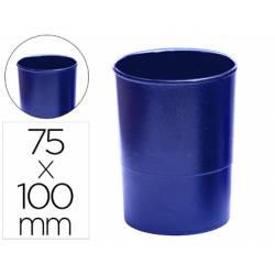 Cubilete portalapices q-connect plastico azul opaco.