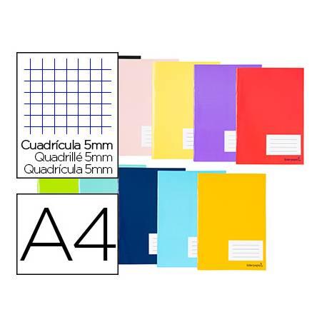 Libreta Liderpapel Smart Tamaño DIN A4 Tapa blanda Cuadricula 5 mm 60 g/m2 Con margen Colores surtidos