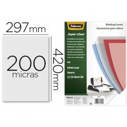 Tapa de Encuadernacion PVC Fellowes DIN A3 Color Transparente Cristal 200 micras pack 100 uds