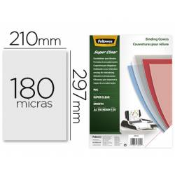 Tapa de Encuadernacion PVC Fellowes DIN A4 Color Transparente Cristal 180 micras pack 100 uds