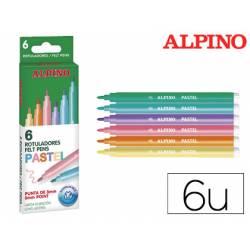 Rotulador Alpino Standard Pastel Punta Fina Lavable Caja 6 rotuladores