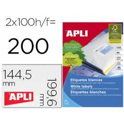 Etiqueta adhesiva Apli 2423 Fotocopiadora Laser Ink-jet DIN A4 Caja con 100 hojas