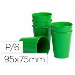 Vaso ABS verde 95x75 mm Borde grueso redondeado